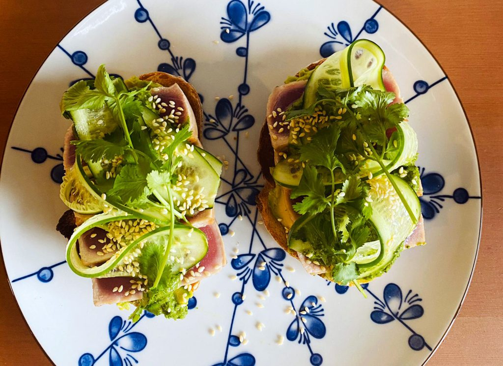 SEARED TUNA, GREEN CHERMOULA AND AVOCADO ON TOAST